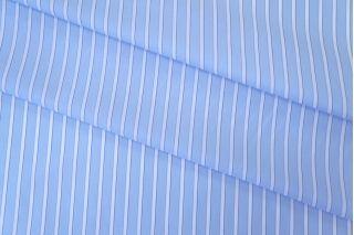 Хлопок рубашечный в полоску бело-голубой FRM 05072005