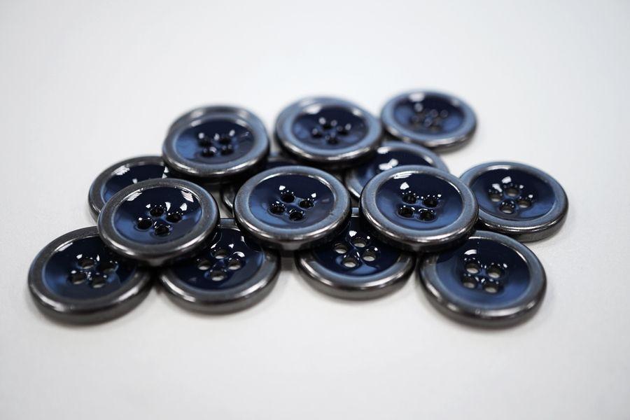 Пуговица костюмная металлическая с эмалью синяя 19 мм PRT-(K)-  06082018