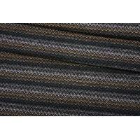 Твид костюмный шерстяной елочка черно-бежево-зеленый BRS-T4 07072005
