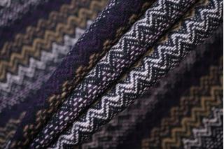 Твид костюмный шерстяной елочка черно-бежево-фиолетовый BRS-T4 07072013