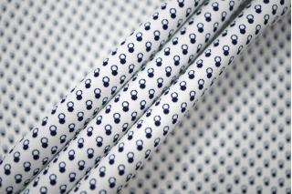 Хлопок костюмно-плательный белый с синим принтом PRT-X6 10062037