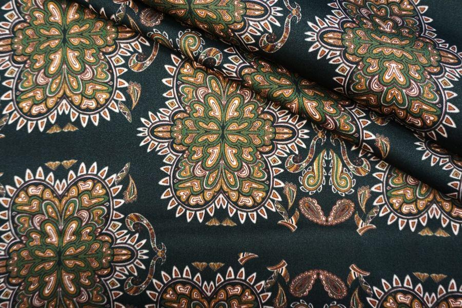 Блузочный сатин темно-зеленый в огурцах DRT-H6 31072009