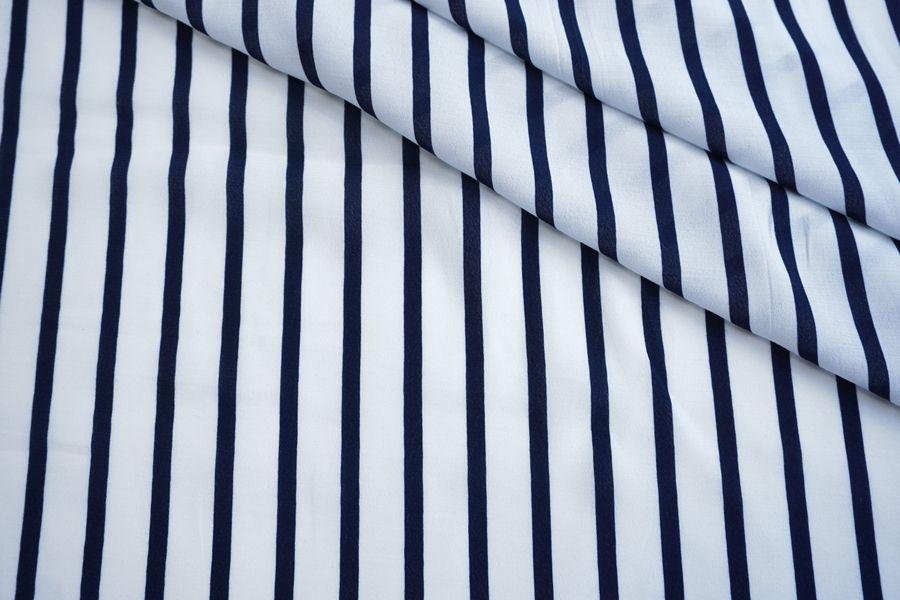 ОТРЕЗ 1,5 М Креповая вискоза Max Mara в полоску бело-синяя DRT.H-(51)-31072021-1