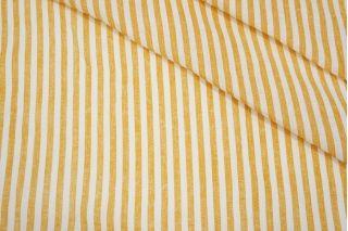 Плательный лен в полоску оранжево-белый Max Mara DRT.H-E50 31072029