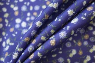 Хлопок органический цветы на синем CMF -H4 31072041