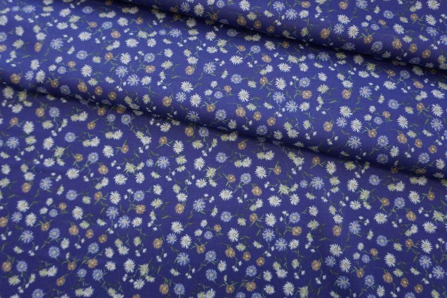 Хлопок органический цветы на синем CMF -G6 31072041