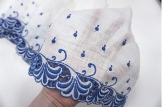 Шитье на льне бело-синее 22 см ST 01062058
