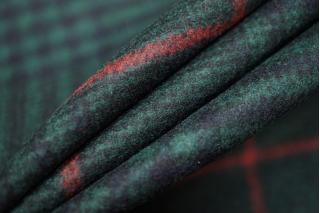 Костюмное шерстяное сукно в клетку темно-изумрудное SR-X2 09112005