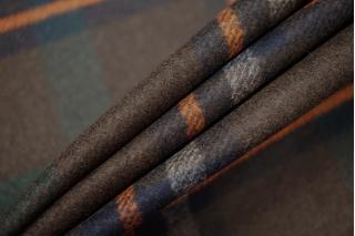 Костюмное шерстяное сукно в клетку темно-коричневое SR-X2 09112009
