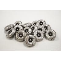 Пуговица металлическая на ножке костюмно-пальтовая серебряная фактурная 15 мм PRT-(M)-  27092009