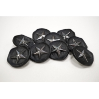 Пуговица на ножке костюмно-пальтовая металл черно-серебряная звезда 24 мм PRT-(M)-  27092010