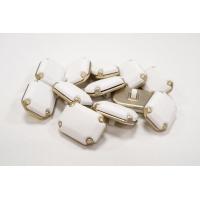 Пуговица на ножке костюмно-пальтовая металл и пластик золотисто-белая 18х25 мм PRT-(M)-  27092023