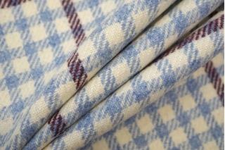Костюмно-пальтовая шерсть в клетку молочно-голубая TRC-T6 28092063