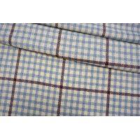 Костюмно-пальтовая шерсть в клетку молочно-голубая TRC-СС7 28092063