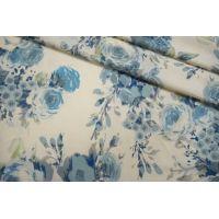 Плательная шерсть голубые цветы SVR-E3 01122050