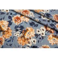 Плательная шерсть цветы на голубом фоне SVR-E3 01122051