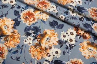Костюмно-плательная шерсть цветы на голубом фоне SVR-E3 01122051