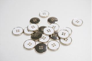 Пуговица костюмная металлическая белая 20 мм PRT-(K)- 11122089