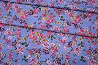 Хлопок органический цветы на сиреневом PRT-E3 08062013