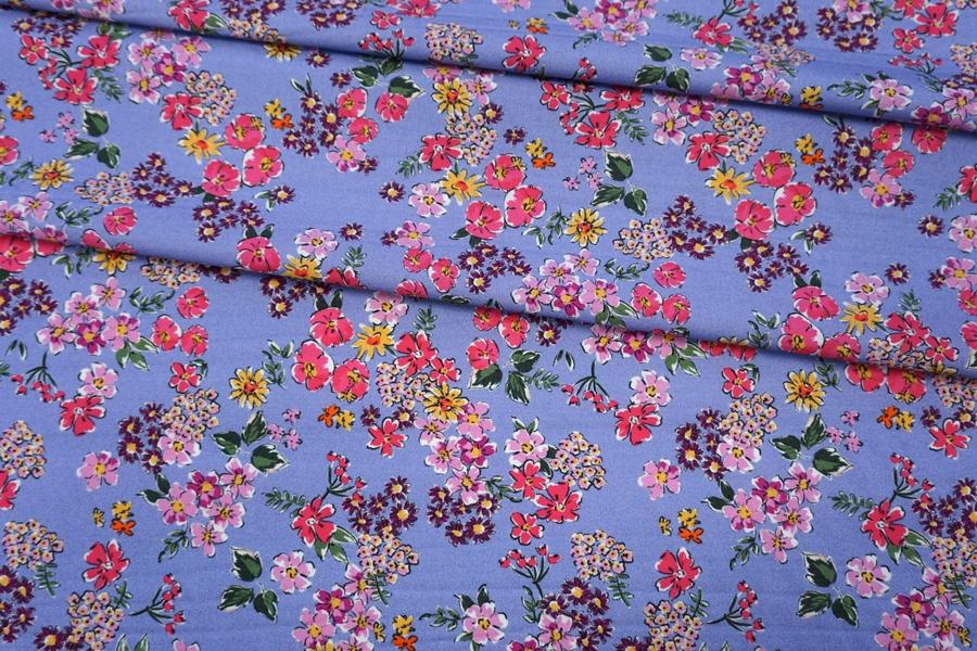Хлопок органический цветы на сиреневом PRT-E5 08062013