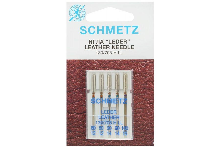 Иглы Schmetz для кожи № 80(2),90(2),100, 5 шт. 22:15.AS2.VIS