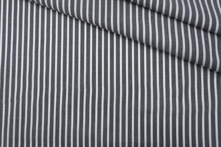 Поплин рубашечный в полоску черно-белый PRT-G5 22042034