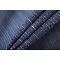 Хлопок рубашечный со льном темно-синий в полоску PRT-E4 28042001