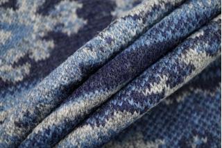 Лоден двусторонний синий орнамент BRS-EE1 09112040
