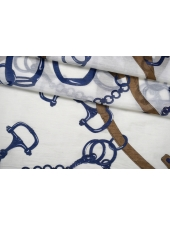 Батист хлопок с шелком цепи и ремни синие PRT 13112069
