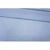 Рубашечный хлопок белый в сине-голубую клетку PRT-F5 17012007