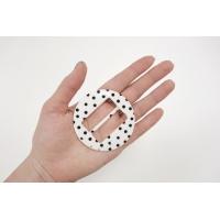 Пряжка круглая пластик белая в горошек диаметр 66 мм PRT-(R)- 01092019