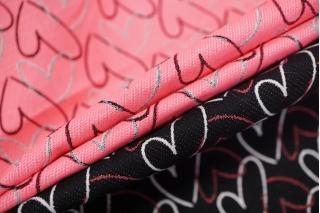 Жаккард сердечки черно-розовые LEO-W2 04092005