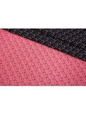 ОТРЕЗ 0,7 М Жаккард сердечки черно-розовые LEO-(21)- 04092005-2