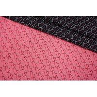 ОТРЕЗ 2,5 М Жаккард сердечки черно-розовые LEO-(21)- 04092005-1
