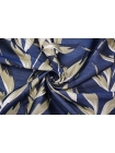 Жаккард листья сине-персиковые LEO-N70 04092006
