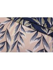 Жаккард листья сине-персиковые LEO-D1 04092006