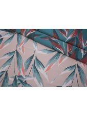 Жаккард листья бирюзово-розовые LEO-ВВ7 04092007