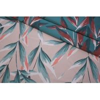 ОТРЕЗ 1,6 М Жаккард листья бирюзово-розовые LEO-(50)- 04092007-1