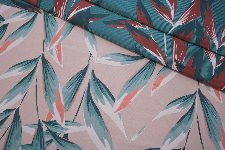 Жаккард листья бирюзово-розовые LEO-N70 04092007
