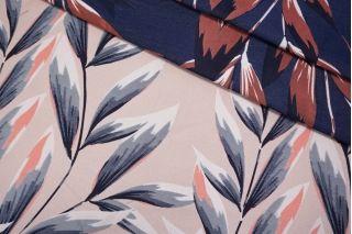 Жаккард листья сине-розовые LEO-D1 04092008