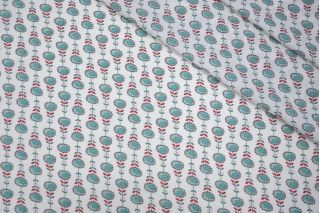 ОТРЕЗ 1,3 М Твил плательно-блузочный подсолнухи мятные LEO-(41)-04092014-2