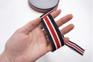 Хлопковая резинка 30 мм красно-бело-черная PRT 25082002 к01