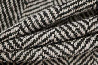 Пальтовый шерстяной твид елочка черный NST 31082058