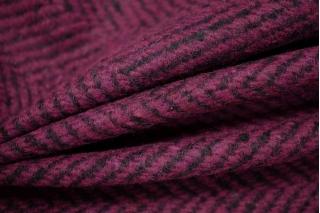Пальтовый шерстяной твид елочка фиолетовая фуксия NST-X1 31082067