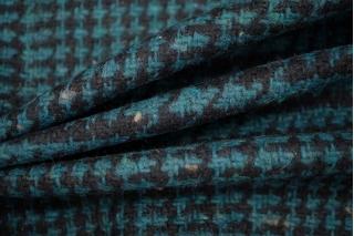 Твид-шанель гусиная лапка черно-бирюзовый NST-X1 31082070