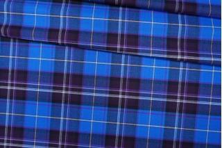 Костюмная шерсть в клетку синяя PRT-F2 13012007