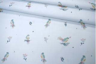 Микровельвет плательный птички на белом PRT 15032024
