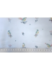 Микровельвет плательный птички на белом PRT-A4 15032024