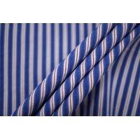 Поплин рубашечный со льном бело-голубой в полоску PRT-F3 22042001