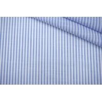 ОТРЕЗ 2,1 М Рубашечный хлопок в полоску бело-голубой PRT-X5 22042025-1